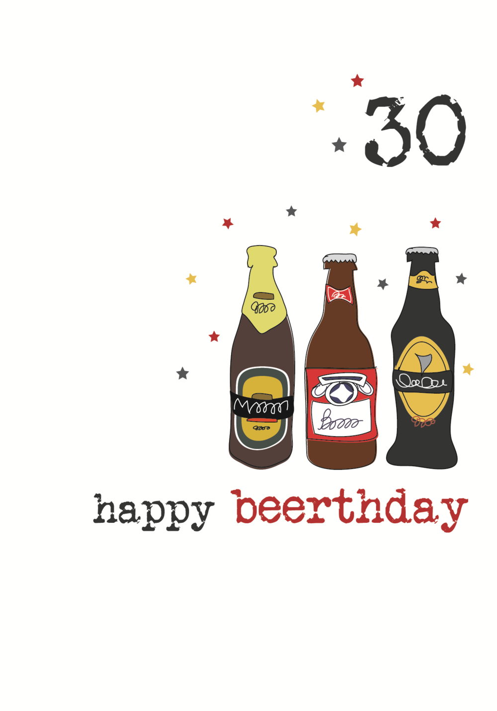 30th Beer Birthday Sparkle Finished Greeting Card