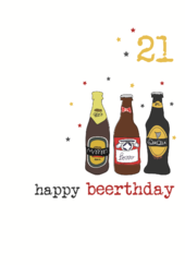 21st Beer Birthday Sparkle Finished Greeting Card