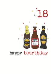 18th Beer Birthday Sparkle Finished Greeting Card