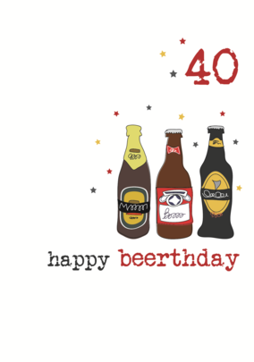 40th Beer Birthday Sparkle Finished Greeting Card