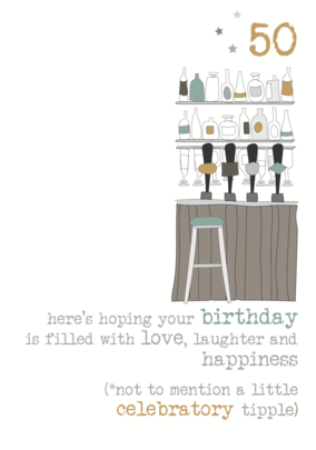 50th Birthday Tipple Sparkle Finished Greeting Card