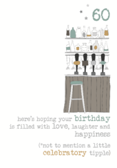 60th Birthday Tipple Sparkle Finished Greeting Card