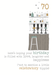 70th Birthday Tipple Sparkle Finished Greeting Card