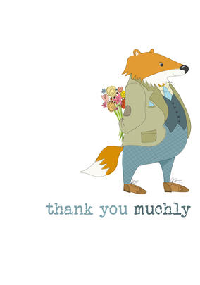 Thank You Muchly Sparkle Finished Greeting Card