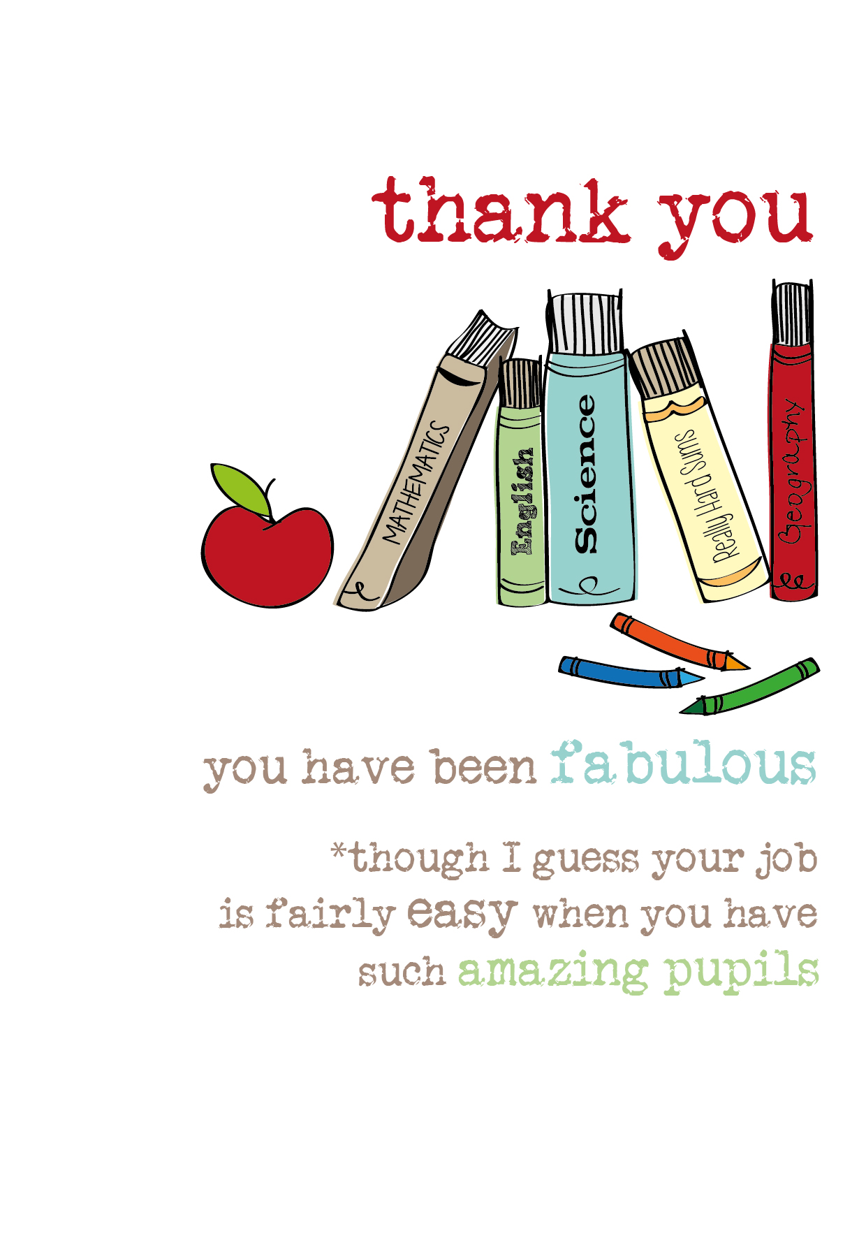 Teacher Thank You Sparkle Finished Greeting Card Cards Love