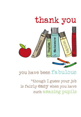 Teacher Thank You Sparkle Finished Greeting Card