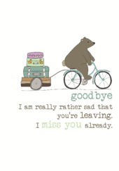 Leaving Miss You Sparkle Finished Greeting Card
