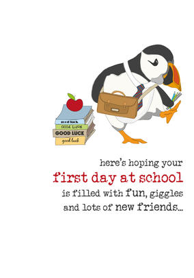 First Day At School Sparkle Finished Greeting Card