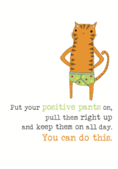 Good Luck Positive Pants Sparkle Finished Greeting Card