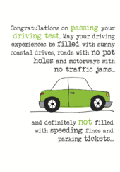 Driving Test Congratulations Sparkle Finished Greeting Card