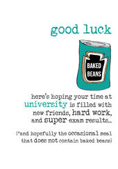 Good Luck At University Sparkle Finished Greeting Card