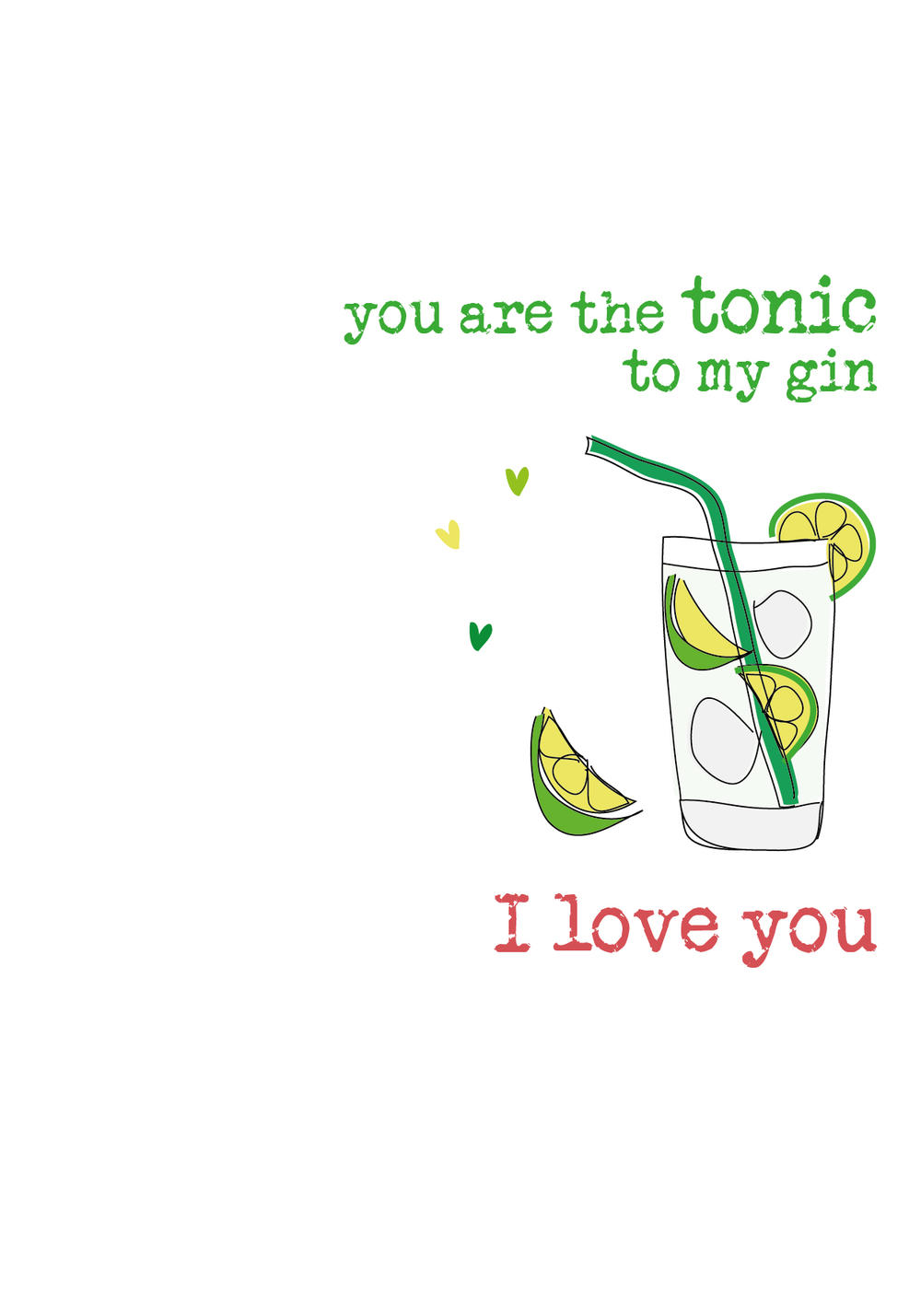 I Love You G&T Sparkle Finished Greeting Card