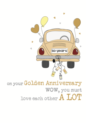 50th Golden Anniversary Sparkle Finished Greeting Card