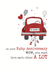 40th Ruby Anniversary Sparkle Finished Greeting Card