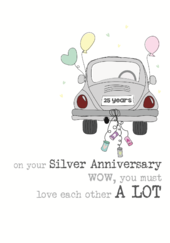 25th Silver Anniversary Sparkle Finished Greeting Card