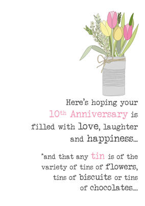 10th Anniversary Sparkle Finished Greeting Card