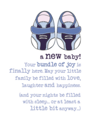 New Baby Boy Sparkle Finished Greeting Card