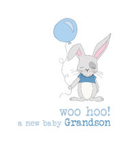 New Baby Grandson Sparkle Finished Greeting Card