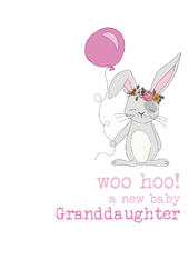 New Baby Granddaughter Sparkle Finished Greeting Card