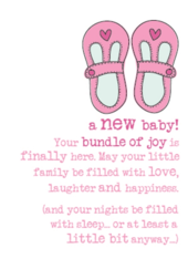 New Baby Girl Sparkle Finished Greeting Card