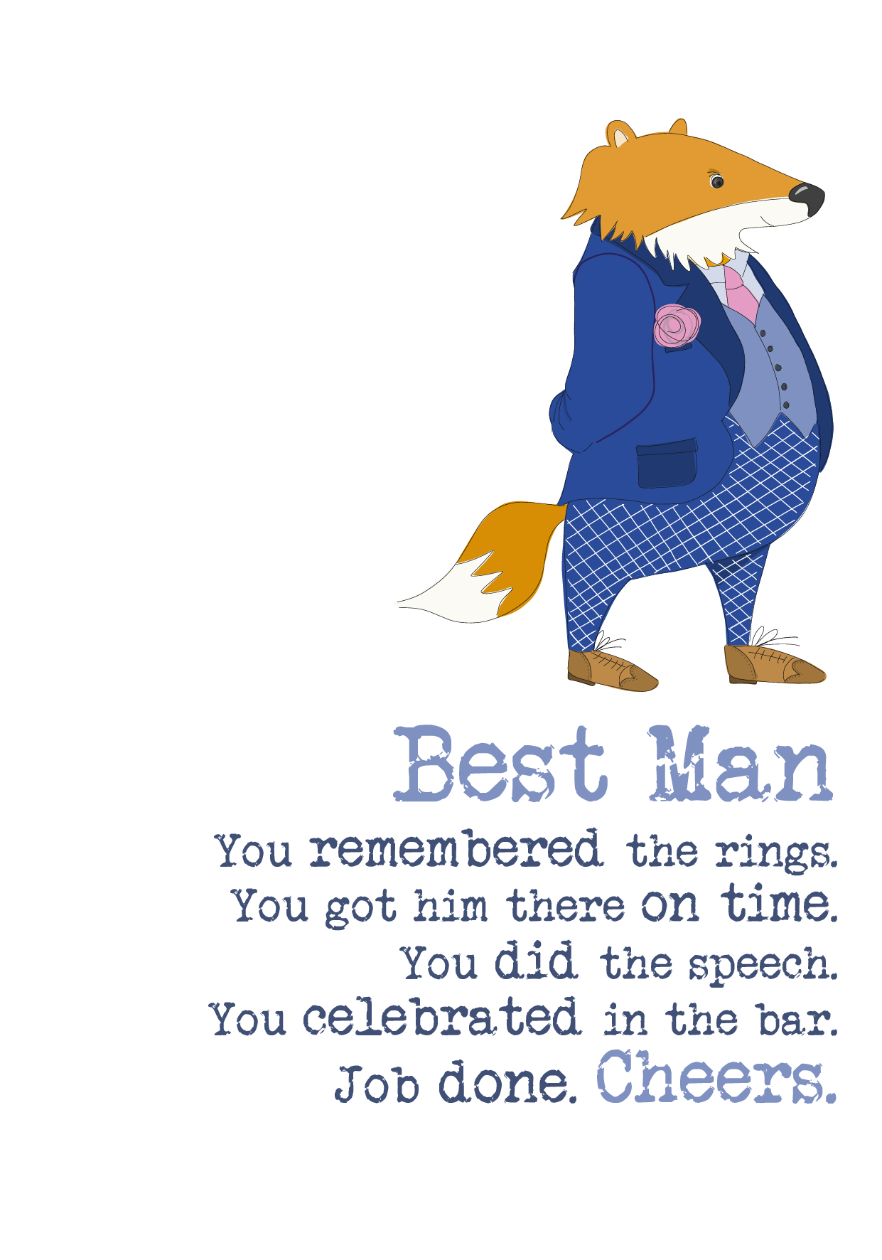 Best Man Thank You Sparkle Finished Greeting Card
