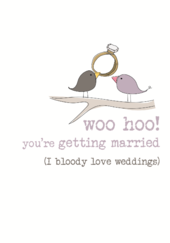 Engagement Woo Hoo Sparkle Finished Greeting Card