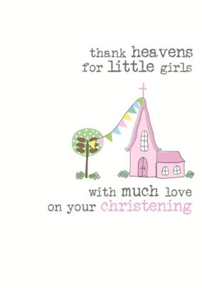 Girls Christening Sparkle Finished Greeting Card
