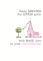 Girls Christening Sparkle Finished Greeting Card