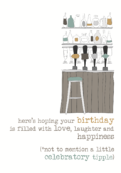 Birthday Tipple Sparkle Finished Greeting Card