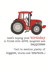 Birthday Tractor Sparkle Finished Greeting Card