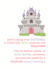 Birthday Princess Sparkle Finished Greeting Card