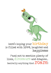 Birthday Dinosaurs Sparkle Finished Greeting Card