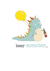 Birthday Beer Monster Sparkle Finished Greeting Card