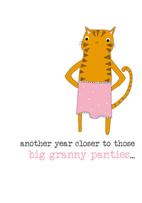 Birthday Granny Pants Sparkle Finished Greeting Card