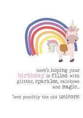 Birthday Unicorn Sparkle Finished Greeting Card
