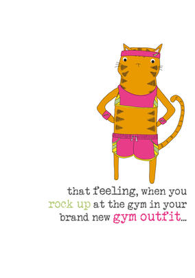 New Gym Outfit Sparkle Finished Greeting Card
