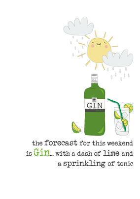 Gin Forecast Sparkle Finished Greeting Card