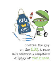 BBQ King Sparkle Finished Greeting Card