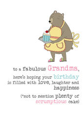 Grandma Birthday Unicorn Sparkle Finished Greeting Card