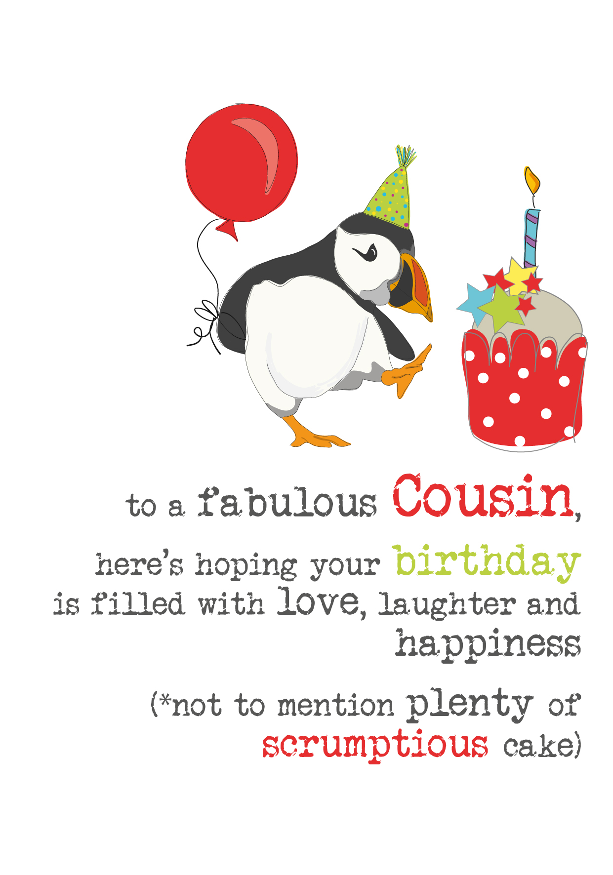 Cousin Birthday Sparkle Finished Greeting Card