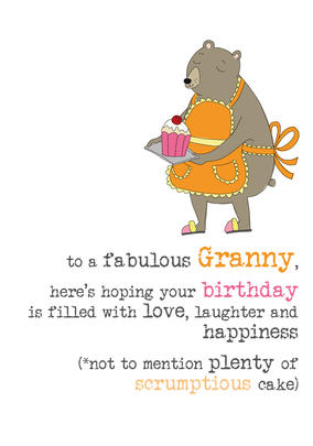 Granny Birthday Sparkle Finished Greeting Card