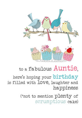 Auntie Birthday Sparkle Finished Greeting Card