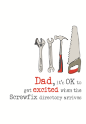 Dad Screwfix Birthday Sparkle Finished Greeting Card Cards