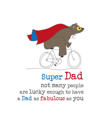 Super Dad Birthday Sparkle Finished Greeting Card