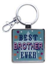 Best Brother Ever Little Wishes Metallic Keyring