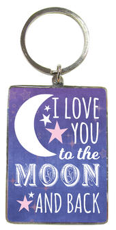 Love You To The Moon & Back Metallic Keyring
