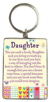 Daughter Metallic Heartwarmers Keyring