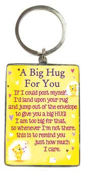 A Big Hug For You Metallic Heartwarmers Keyring