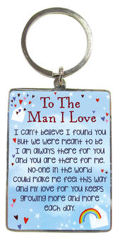 To The Man I Love Metallic Heartwarmers Keyring
