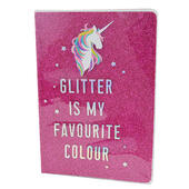Unicorn Pink Glitter Lined A5 Notebook